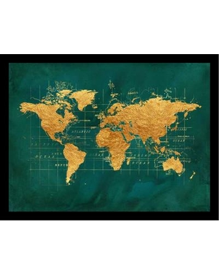 """Buy Art For Less 'World Map Gold Foil Poster' by Beth Albert Framed Graphic Art IF BA1536 1.25 Black Size: 24"""" H x 32"""" W x 1"""" D"""