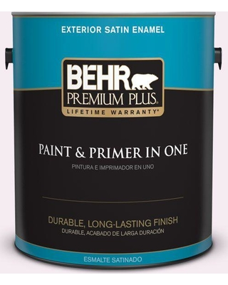 BEHR Premium Plus 1 gal. #100A-1 Barely Pink Satin Enamel Exterior Paint and Primer in One