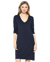Amazon Brand - Daily Ritual Women's Jersey Long-Sleeve V-Neck T-Shirt Dress, Navy,Small