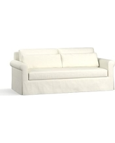 """York Roll Arm Slipcovered Deep Seat Sofa 84"""" with Bench Cushion, Down Blend Wrapped Cushions, Performance Slub Cotton Ivory"""