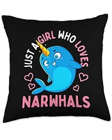 Unicorn Squad Goals Gift Store Gifts Just a Girl Who Loves Narwhals Throw Pillow, 18x18, Multicolor