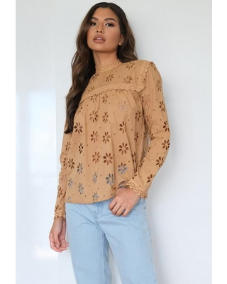 Camel Broderie High Neck Lace Trim Blouse
