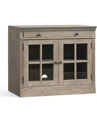 Livingston Double Glass Door Cabinet with Top, Gray Wash