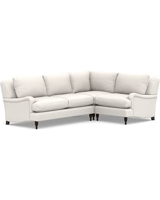 Carlisle Upholstered Left Arm 3 Piece Corner Sectional, Polyester Wrapped Cushions, Sunbrella(R) Performance Chenille Salt