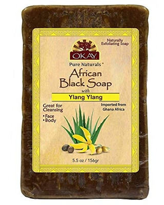 OKAY | African Black Soap with Ylang Ylang | For All Skin Types | Cleanses and Exfoliates | Nourishes and Heals | Free of Sulfate, Silicone & Paraben | 5.5 oz