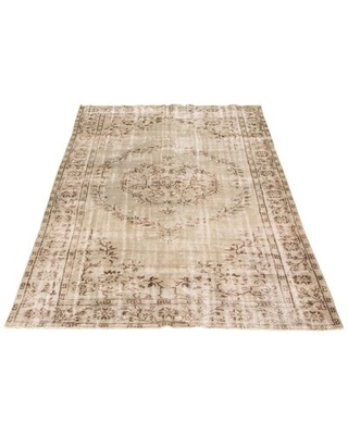 """One-of-a-Kind Hand-Knotted 1980s 5'9"""" x 9'3"""" Wool Area Rug in Beige"""