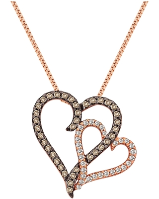 Divina 10KT Rose Gold 3/8ct TDW Diamond Double Heart Pendant