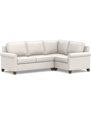 Cameron Roll Arm Upholstered Left Arm 3-Piece Corner Sectional, Polyester Wrapped Cushions, Sunbrella(R) Performance Chenille Salt
