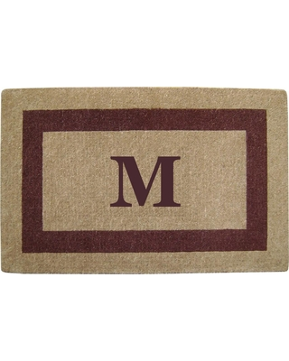 Nedia Home Single Picture Frame Brown 30 in. x 48 in. Heavy Duty Coir Monogrammed M Door Mat, Browns/Tans