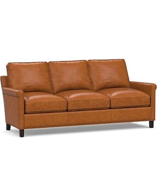 Tyler Roll Arm Leather Sofa with Bronze Nailheads, Down Blend Wrapped Cushions, Vintage Caramel