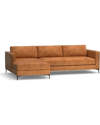 Deals For Jake Leather Right Arm Sofa With Chaise Sectional With Bronze Legs Down Blend Wrapped Cushions Statesville Caramel