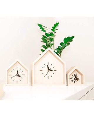 Desk Clock - 3 Sizes Available Mini Midi Large - Oak Wood Clock - Wooden Table Clock - House Shape Clock - Office Desk Mini Clock - Silent Desk Clock