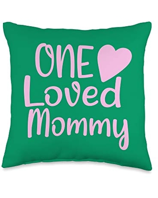 Gifts for Moms Shirts by Southerngal Gifts One Loved Mommy from The Kids to Moms Baby Shower Throw Pillow, 16x16, Multicolor