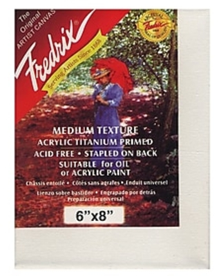 "Fredrix Red Label Stretched Cotton Canvas, 6"" x 8"" (22033),Size: med"
