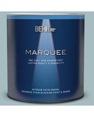 BEHR MARQUEE 1 qt. #PPU13-13 Oslo Blue One-Coat Hide Satin Enamel Interior Paint & Primer