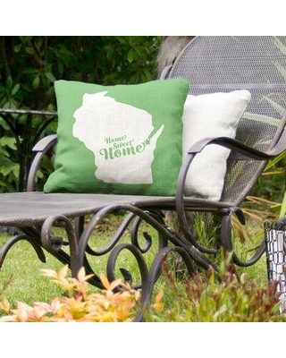 "East Urban Home Home Sweet Olympia Indoor/Outdoor Throw Pillow FCKF5897 Color: Green Size: 18"" x 18"" City: Green Bay"