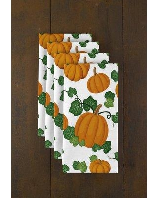 """Fabric Textile Products Inc. Pumpkin Patch Scroll Signature 18"""" Napkins XX-FP5V-T84V Color: White"""