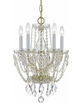 Crystorama Traditional Crystal 14 Inch 5 Light Mini Chandelier - 1129-PB-CL-S