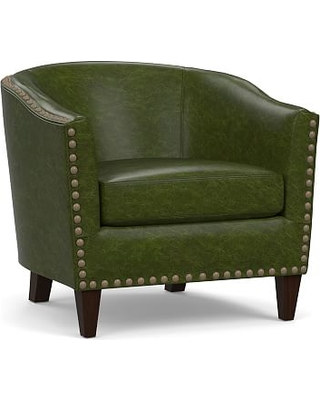 Harlow Leather Armchair without Nailheads, Polyester Wrapped Cushions, Legacy Forest Green