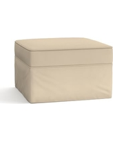 Pearce Slipcovered Grand Ottoman, Polyester Wrapped Cushions, Twill Parchment