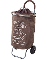 Laundry Trolley Dolly, Brown Laundry Bag Hamper Basket cart with wheels sorter