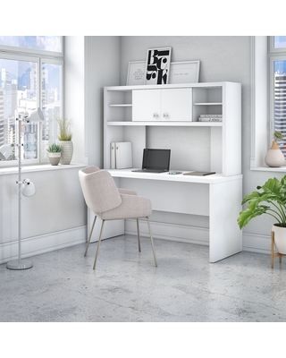 Echo 60W Credenza Desk with Hutch from Office by kathy ireland® (White)