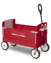 Radio Flyer, 3-in-1 EZ Fold Wagon, Padded Seat with Seat Belts, Red