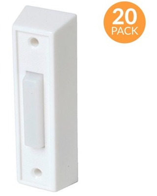 Newhouse Hardware Rectangular Lighted Wired Doorbell Push Button, White (20-Pack)