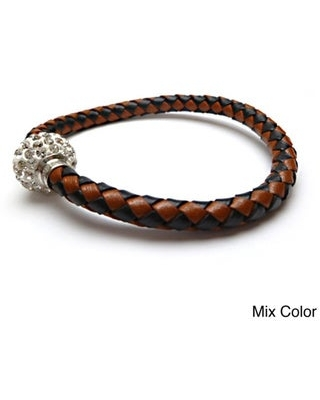 Braided Leather Rhinestones Crystal Clasps Bangle Bracelet (Mix Color Leather Bracelet with Crystal Clasps)