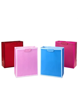 """Hallmark 9"""" Medium Solid Color Gift Bags - Pack of 4 in Red, Blue, Light Pink and Hot Pink for Birthdays, Baby Showers, Retirements or Any Occasion"""