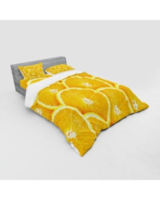 Realistic Citrus Fruit Of Slices Close Up Photography Clean Healthy Eating Duvet Cover Set East Urban Home Size: Queen Duvet Cover + 3 Additional Piec
