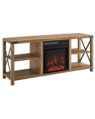 Forest Gate Englewood TV Stand with Electric Fireplace in Rustic Oak
