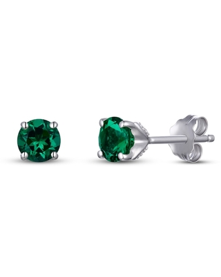 Jared The Galleria Of Jewelry Lab-Created Emerald/Sapphire Earrings Sterling Silver