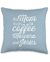 Lettered Grace Contemporary Christian Gifts Runs on Coffee Mascara & Jesus - Cute Funny Christian Mom Throw Pillow, 16x16, Multicolor