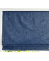 "Custom Emery Cordless Roman Shade, 40 x 48"", Navy"