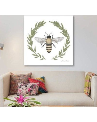 """East Urban Home 'Happy To Bee Home I' Graphic Art Print on Canvas ETRB2760 Size: 12"""" H x 12"""" W x 1.5"""" D"""