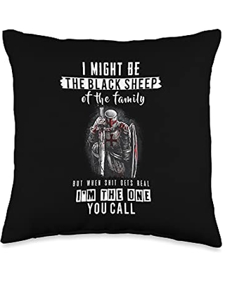 Crusader Knights Templar Outfits Religious Verse Christian Costume, Crusader Knights Templar Throw Pillow, 16x16, Multicolor