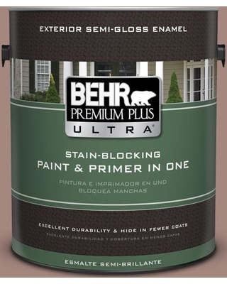 BEHR Premium Plus Ultra 1 gal. #bnc-11 Pink Granite Semi-Gloss Enamel Exterior Paint and Primer in One, Reds/Pinks