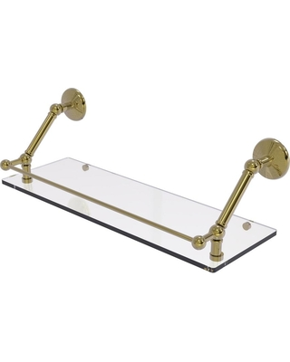 Allied Brass Prestige Monte Carlo 24 in. Floating Glass Shelf with Gallery Rail in Unlacquered Brass