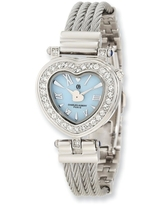 Charles Hubert Stainless Steel Bangle Light Blue Mother Of Pearl Heart Dial Watch by Versil - white (white)