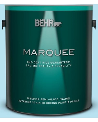 BEHR MARQUEE 1 gal. #P490-1 Ocean Front Semi-Gloss Enamel Interior Paint and Primer in One