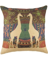 TheWatsonShop Giraffe Burlap Throw Pillow SBBEIGLOBO2GIR