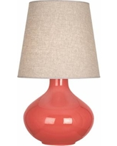 Robert Abbey June Melon Ceramic with Buff Shade Table Lamp
