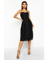 Womens Boutique Embroidered Strappy Midi Skater Dress - Black - 6