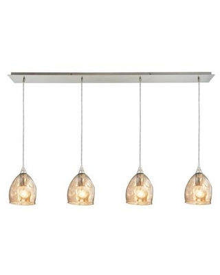 31595/4LP Niche 4 Light Pendant in Satin Nickel and Champagne Plated