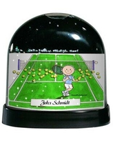 The Holiday Aisle Friendly Folks Cartoon Caricature Male Tennis Player Snow Globe X112769983 Customize: Yes