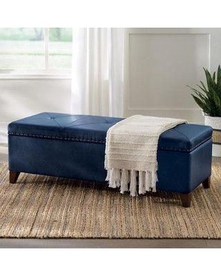 Silas Storage Bench - Marbled Mineral Bonded Leather - Grandin Road