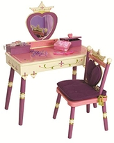 Wildkin Kids Princess Wooden Vanity and Chair Set for Girls, Vanity Features Mirror and Attached Jewelry Box and Music Box, Includes Matching Chair with Removable Backrest and Seat Cushion (Pink)