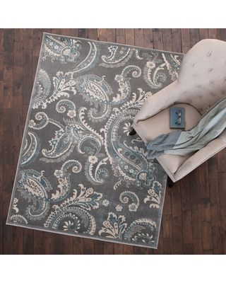 """Mayberry Rug Paisley Area Rug Gray (5'3""""x7'3"""") - 5'3"""" x 7'3"""""""
