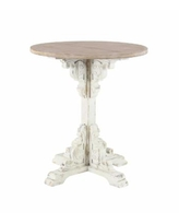 """Traditional 30"""" x 26"""" Round Wood Accent Table - Beige"""